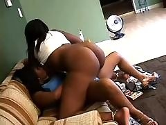 Interracial babes caress each other
